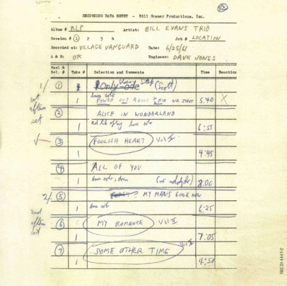 Bill Evans - Live At The Village Vanguard 1961 Recording Sheet