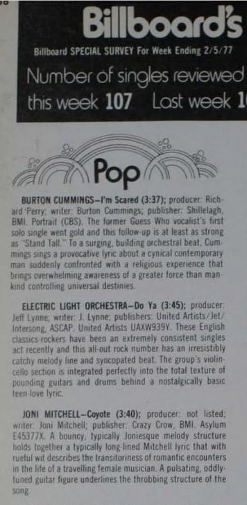 Billboard Top Singles Picks February 1977