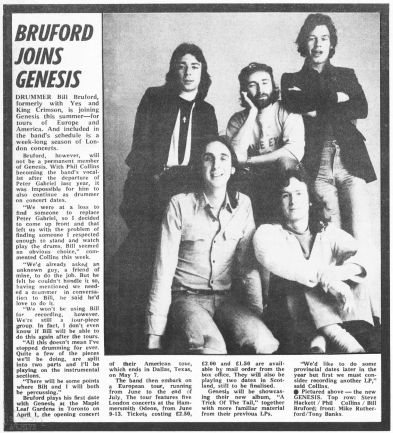 Melody Maker article Bruford joins Genesis