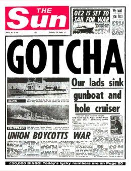 Sun Gotcha headline May 1982