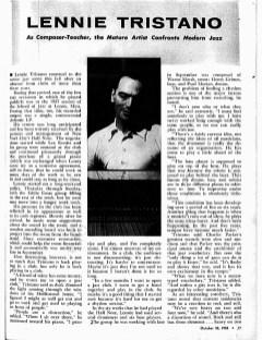 Lennie Tristano 1956 Downbeat interview