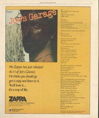 Joe's Garage ad in Rolling Stone