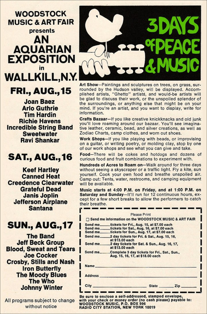 Woodstock Tickets August 1969