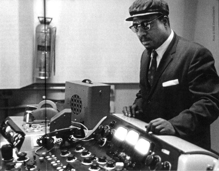 Monk listens to playback at Reeves 1956
