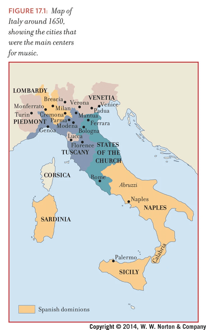 Map Of Northern Italy With Cities.17th Century Music Centers Of Italy Musical Geography