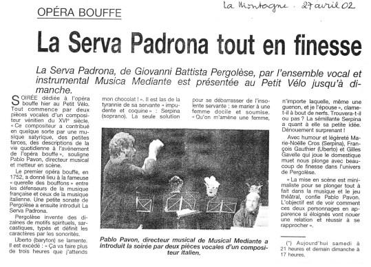 _10 - 2002-04-27+28 Concerts Clermont-Ferrand Article La Montagne
