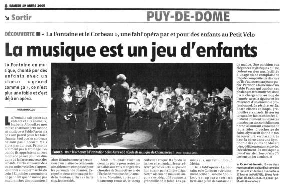 _5 - 2005-03-18au19 Concert Clermont-Ferrand Article La Montagne