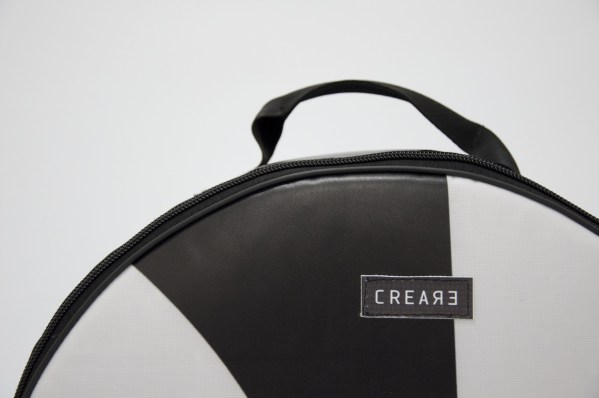 detail of snare drum bag from handcrafted drum set bag by music bags.crea-re.com