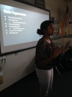Indian student Rayne presenting MusicBrainz to her classmates.