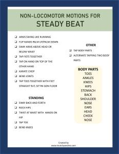 List of Non-Locomotor Steady Beat Motions