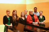 With students before the master class.