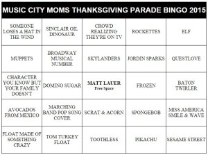 nashville family fun thanksgiving parade bingo