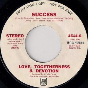 Love, Togetherness & Devotion - Success, A&M Promo