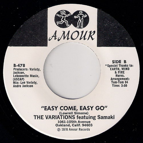 The Variations featuring Samaki - Easy Come Easy Go, Amour 45