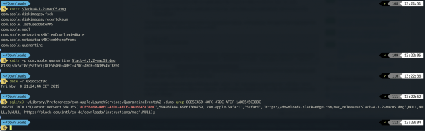 Screenshot of Terminal commands to find out more about a downloaded file.