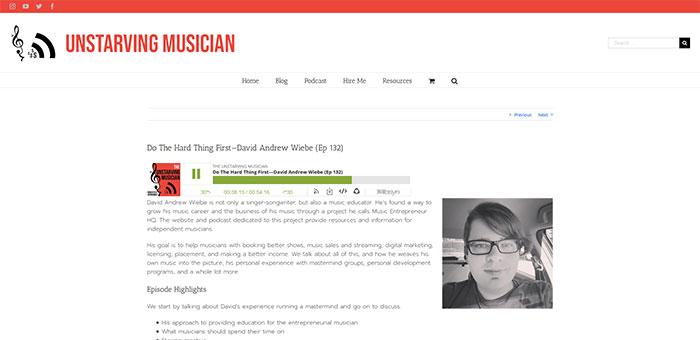 David Andrew Wiebe interview on Unstarving Musician