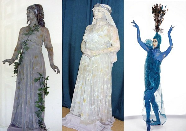 Grey Vine, Roman Lady And Peacock Statue