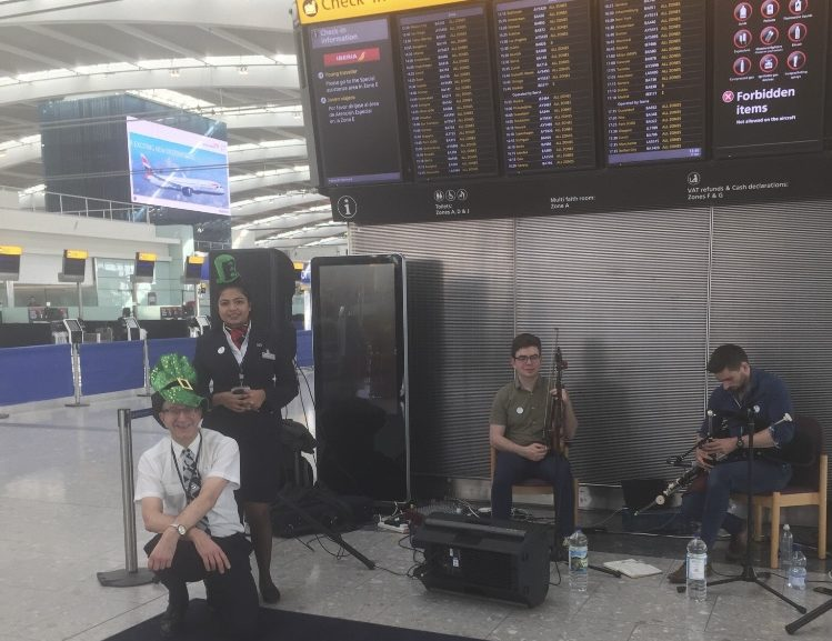 Irish Musicians in London Performing at Heathrow Terminal 5