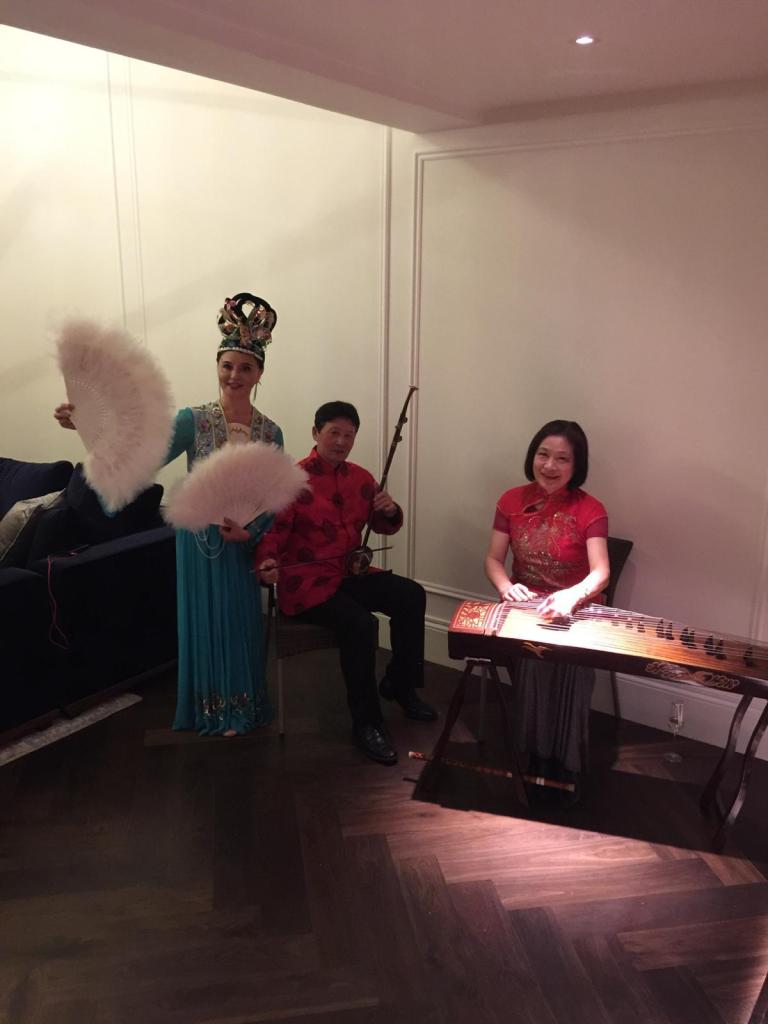 Chinese Fan Dancers and Chinese Musicians