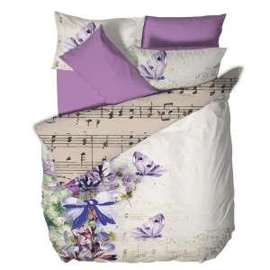 """Спален комплект """"Симфонична нощ"""", музикален, възглавници, долен чаршаф в лилав цвят, калъфки, флорален мотив, ноти, партитура, петолиние, памук, долен чаршаф,"""