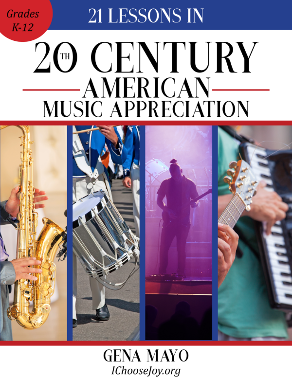 """""""21 Lessons in 20th Century American Music Appreciation"""" is a wonderful way to study American music for grades K-12th, can even be used for high school credit! #musicappreciation #musichistory #musiclessonsforkids #homeschoolmusic #musicinourhomeschool"""