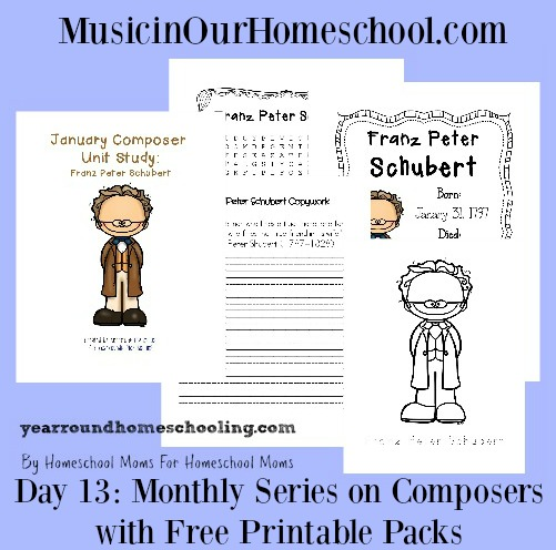 Monthly Series on Composers with Free Printable Packs collage
