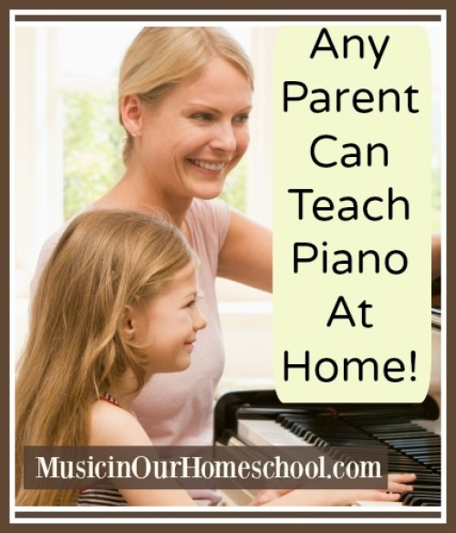 Any Parent Can Teach Piano at Home~ see how this mom teaches her kids piano, what curriculum to use, and more piano teaching tips! #musicinourhomeschool #homeschoolmusic #pianolessons #pianolessonsathome