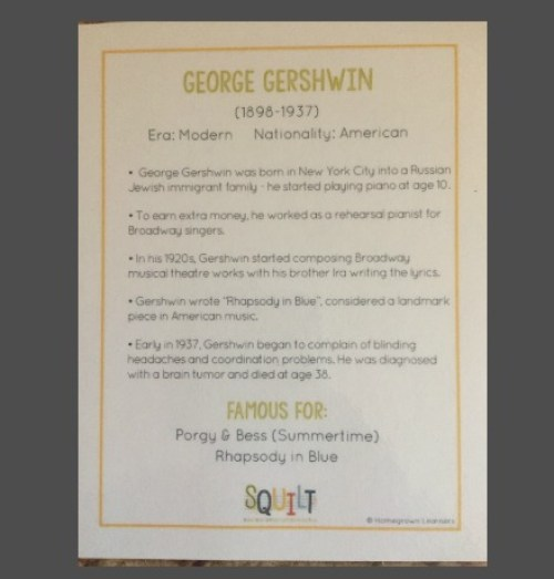 Meet the Composers Gershwin card
