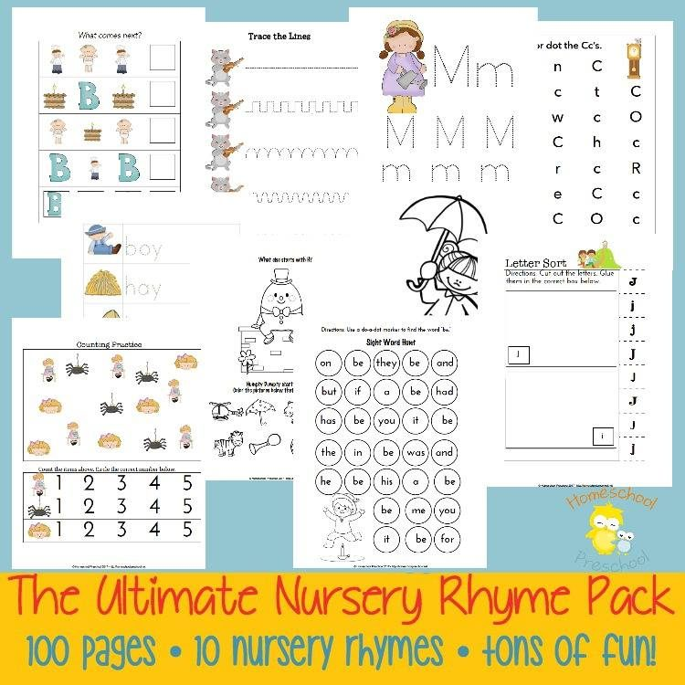 Nursery Rhyme Pack, use the 100-page pack with this 15-Minute Music Lesson on Nursery Rhymes