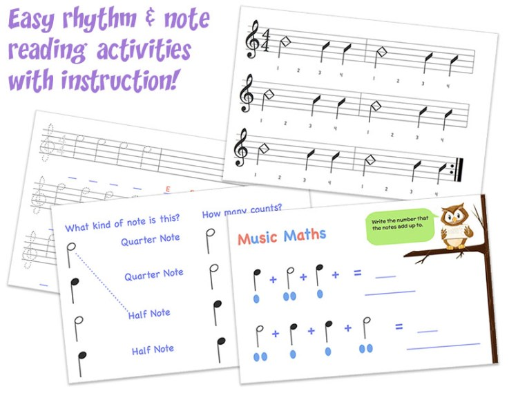Gentle Guitar Music Theory. Kids ages 5-12 get live guitar lessons at home over Skype, but also learn music theory. (From Music in Our Homeschool)