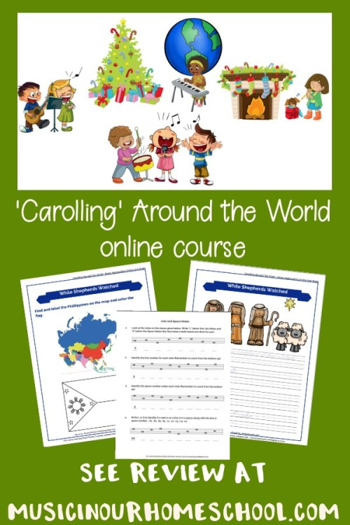 Carolling Around the World to learn about Christmas Carols #Christmas #Christmascarols #Christmasmusic #musiccourse #musicinourhomeschool