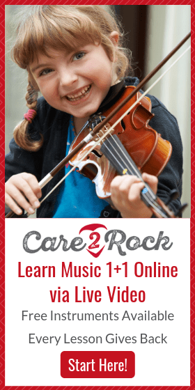 Care2Rock provides personalized one-on-one private music lessons in the comfort of your own home no matter where you live. The instrument is included in the price! #musiclessons #onlinemusiclessons #musiclessonsforkids #musicinourhomeschooll #homeschoolmusic