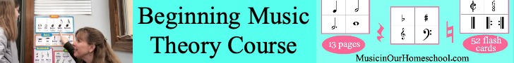 Beginning Music Theory course is part of Music in Our Homeschool Plus! Join Gena Mayo and her daughter as they lead you through super fun video music theory lessons!