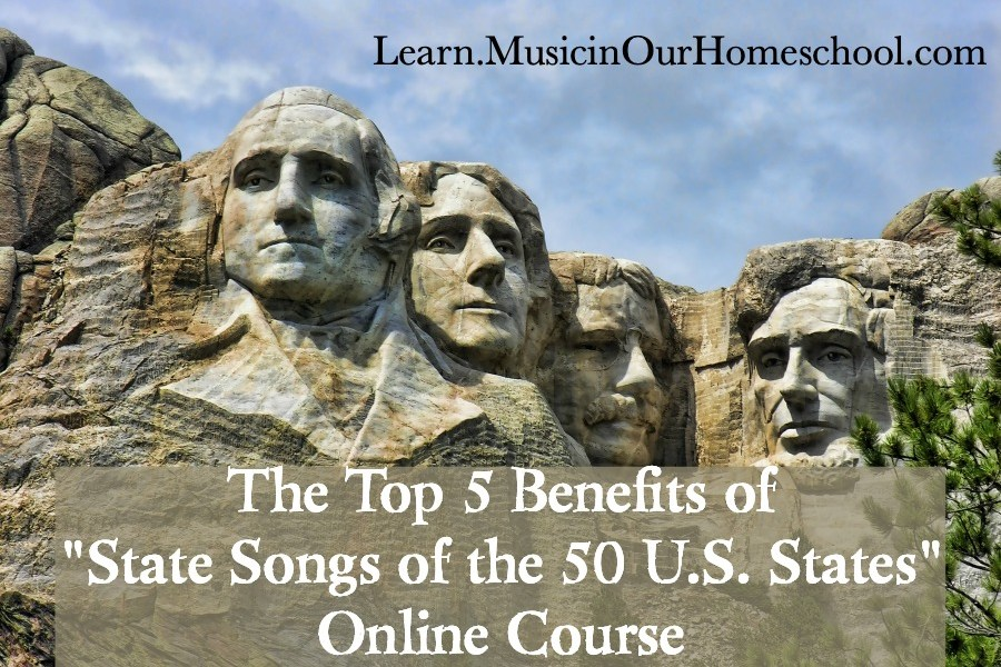 """State Songs of the 50 U.S. States"" online course is the perfect way to learn all about the U.S. States and do some music along the way! #musiceducation #elementarymusic #musiclessonsforkids #musicinourhomeschool #statesongscourse"