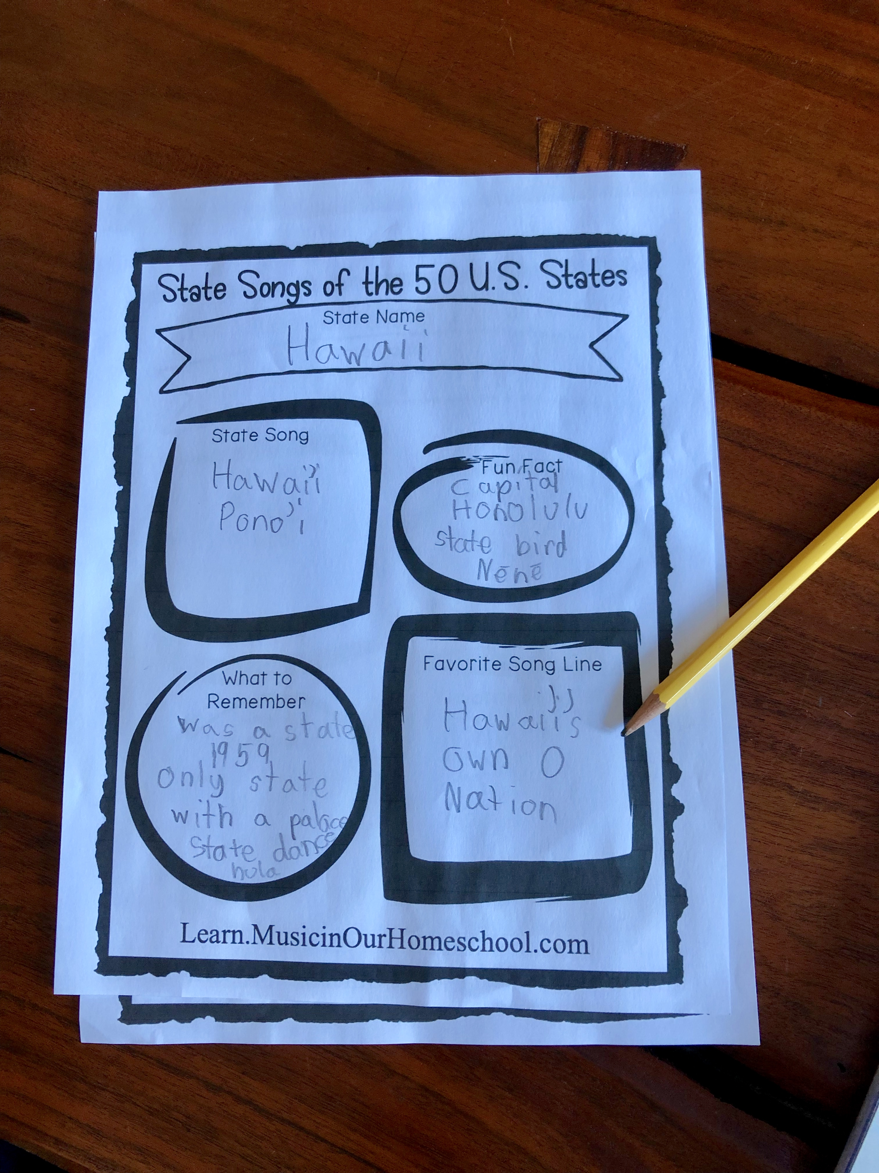 Here is a notebooking page from State Songs of the 50 U.S. States online course, the perfect way to learn all about the U.S. States and do some music along the way! #musiceducation #elementarymusic #musiclessonsforkids #musicinourhomeschool #statesongscourse