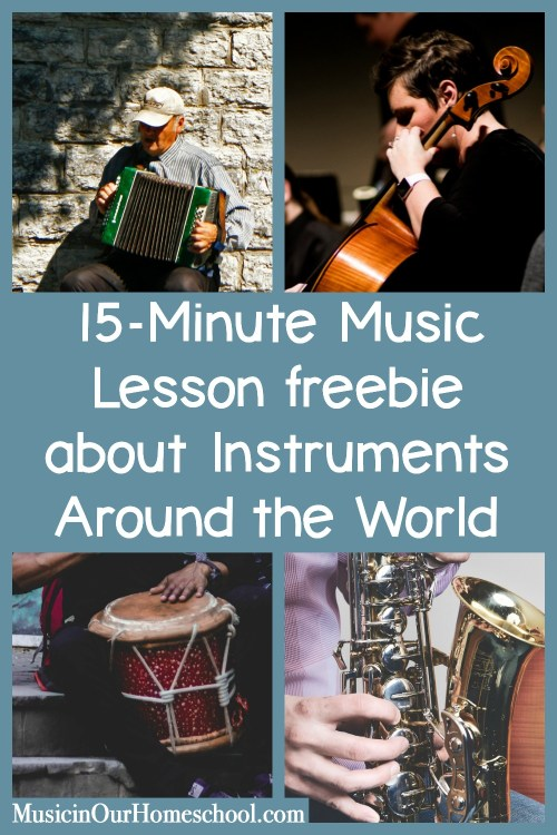 15-Minute Music Lesson freebie with Musical Instruments Around the World Notebooking Journal. Get it for free through March 31. 100 different instruments! #musicprintables #musiclessonsforkids #elementarymusic #musicinourhomeschool