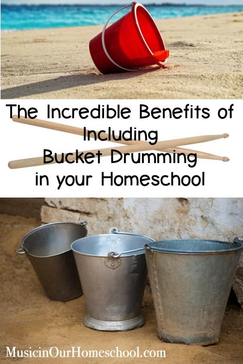 The Incredible Benefits of Including Bucket Drumming in your Homeschool #bucketdrumming #homeschoolmusic #musicinourhomeschool #musiclessonsforkids