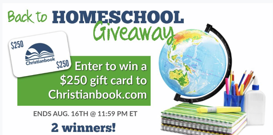 Win one of 2 $250 gift certificates to Christian Book Distributors. A Homeschool Giveaway!