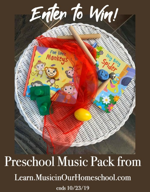 Preschool Music Pack giveaway from Music in Our Homeschool #musicinourhomeschool #homeschoolmusic #preschoolmusic
