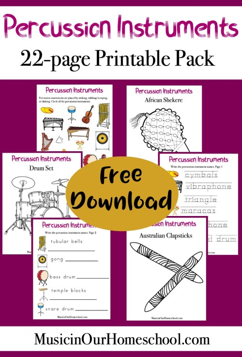 Percussion Instruments Printable Pack free for a limited time. 22 pages from Music in Our Homeschool