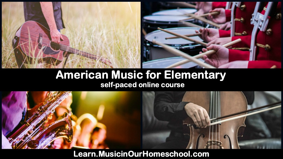"""American Music for Elementary"" is a click-and-go, easy-to-use online course for elementary students. Use the course in your homeschool, homeschool co-op, school classroom, music classroom, and more! Engaging, includes videos, notebooking pages, online quizzes, and 36 lessons!"