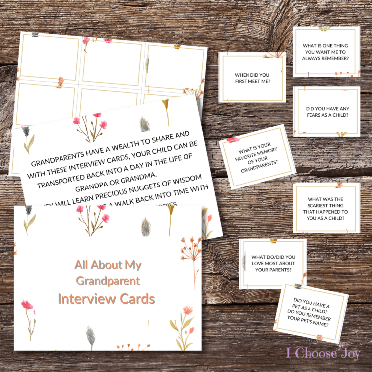 All About My Grandparents Interview Cards. They're only $1 for a limited time.