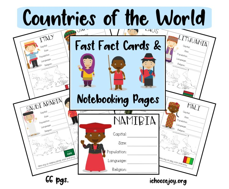 Countries of the World Fast Fact Cards & Notebooking Pages
