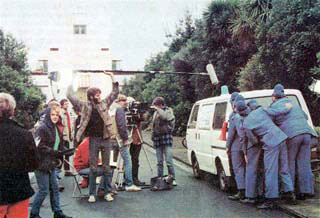 'Police' prepare to storm the building in an episode of Terry and The Gunrunners, filmed at Musick Memorial Radio Station