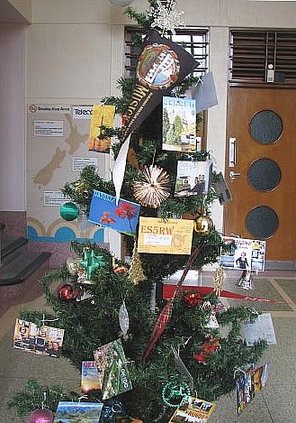 Christmas tree in the foyer of Musick Memorial Radio Station, Dec 2009