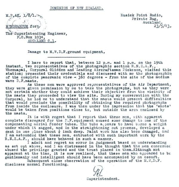 letter concerning damage at Musick Point radio station