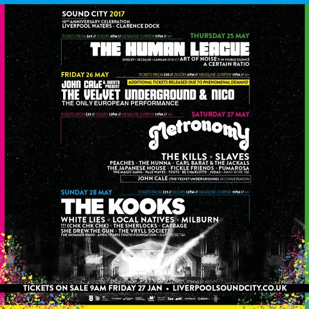 The Human League, John Cale, Metronomy and The Kooks announced for Liverpool Sound City 2017