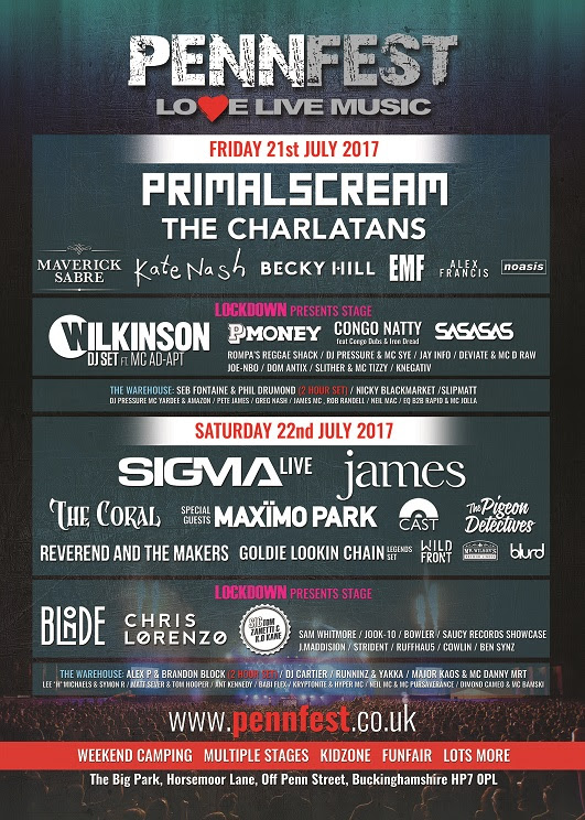 PennFest 2017 announces Primal Scream, Sigma, James, The Charlatans, Maverick Sabre, The Coral and more