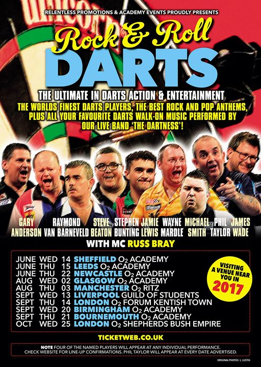 Rock & Roll Darts UK tour announced feat. Phil 'The Power' Taylor