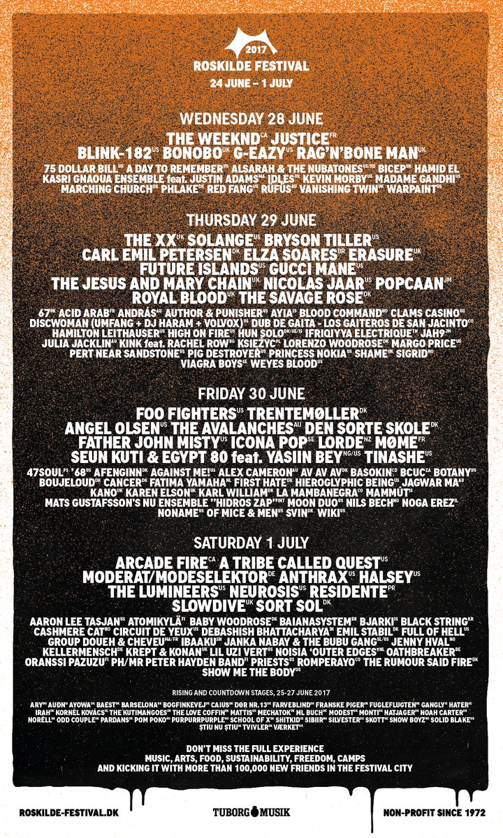 Full Roskilde Lineup Announced - The XX, Future Islands, Royal Blood, Slowdive & More